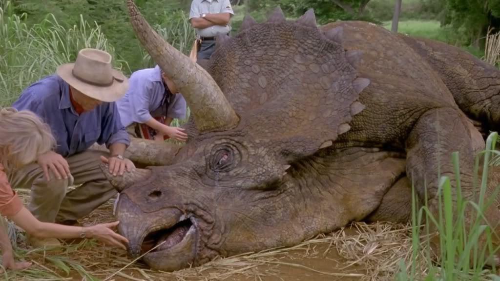Grant with sick dinosaur